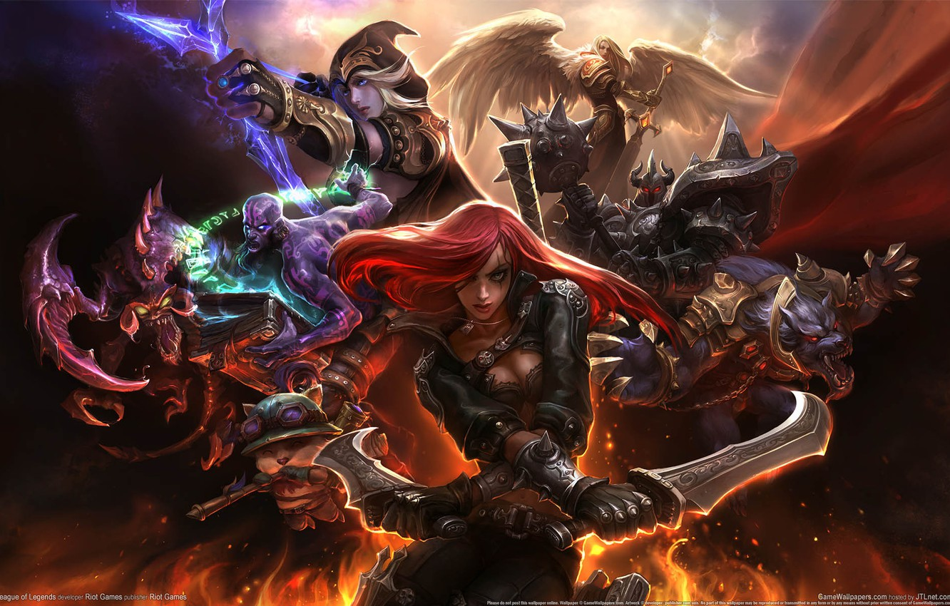 Photo wallpaper weapons, fire, magic, wings, monster, warrior, armor, League of Legends