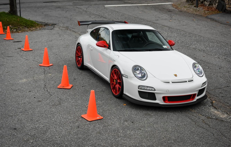Photo wallpaper Porsche, Red, GT3, White, Wheels