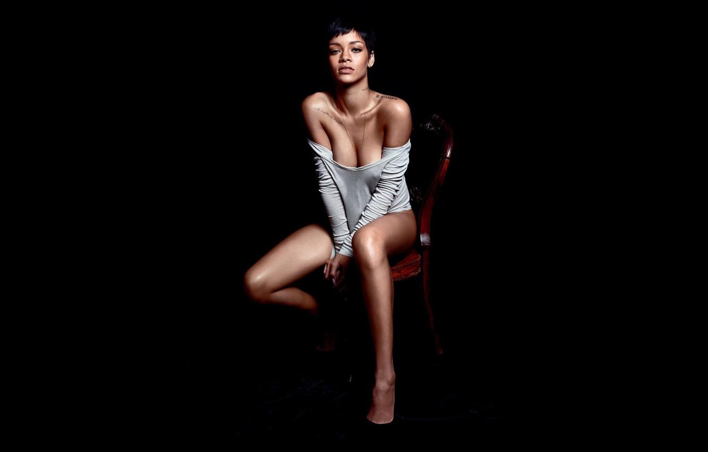 Photo wallpaper girl, actress, brunette, chair, singer, Rihanna, black background, sitting, tattoo, Rihanna