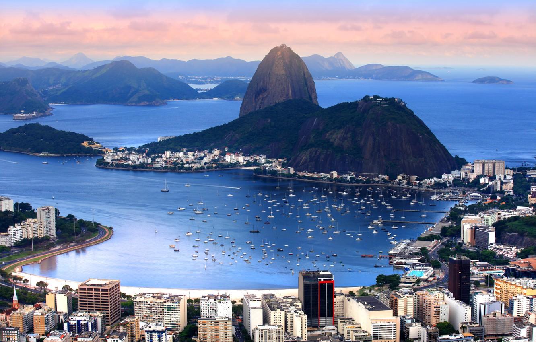 Photo wallpaper mountains, coast, home, boats, panorama, Bay, boats, Brazil, Rio de Janeiro