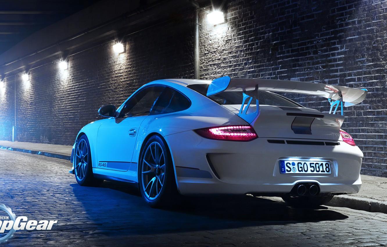 Photo wallpaper road, white, light, tuning, 911, Porsche, Top Gear
