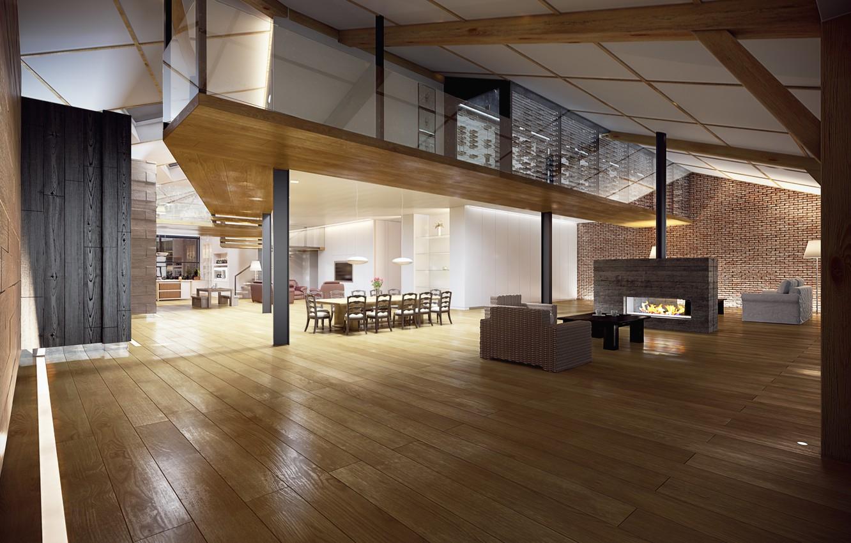 Photo wallpaper table, room, fireplace, hall, Interior, living room, living room, table, fireplace, hall, Room, Interior, stylish …