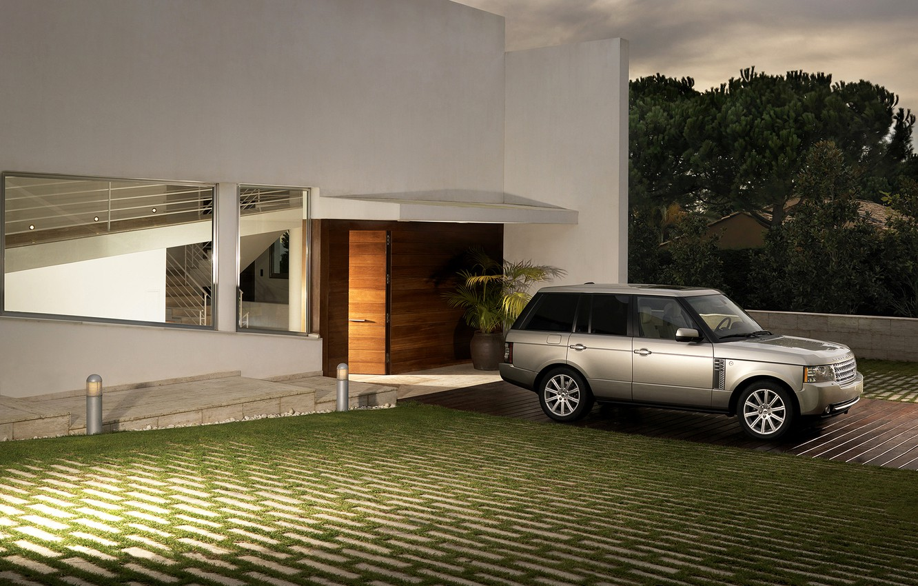 Photo wallpaper the evening, Range Rover, mansion
