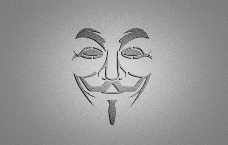 Photo wallpaper smile, minimalism, mask, grey background, V for Vendetta, V for vendetta