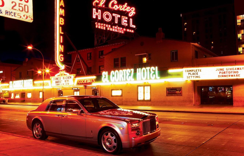 Photo wallpaper night, Neon, Rolls-Royce, Phantom, advertising