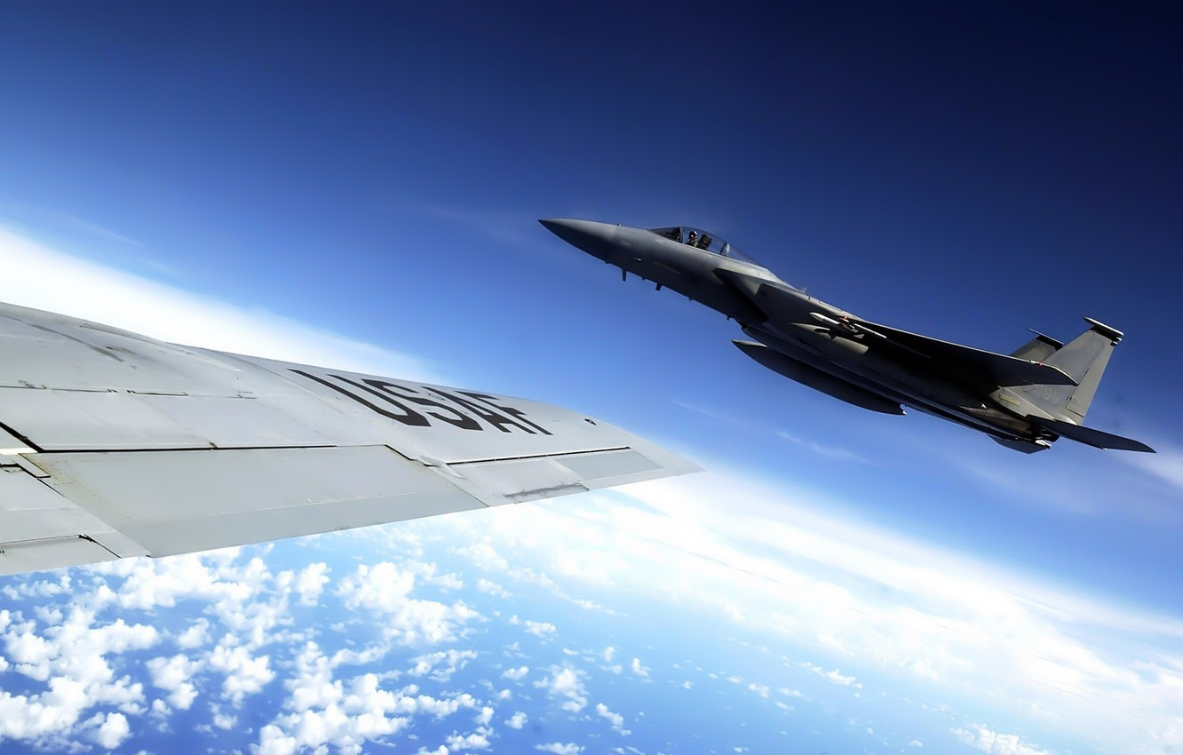 Photo wallpaper the sky, clouds, wing, fighter