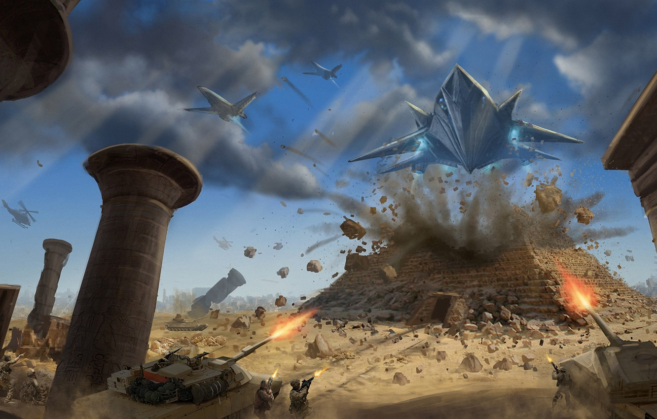 Photo wallpaper the explosion, army, art, aircraft, soldiers, tank, attack, pyramid, Egypt