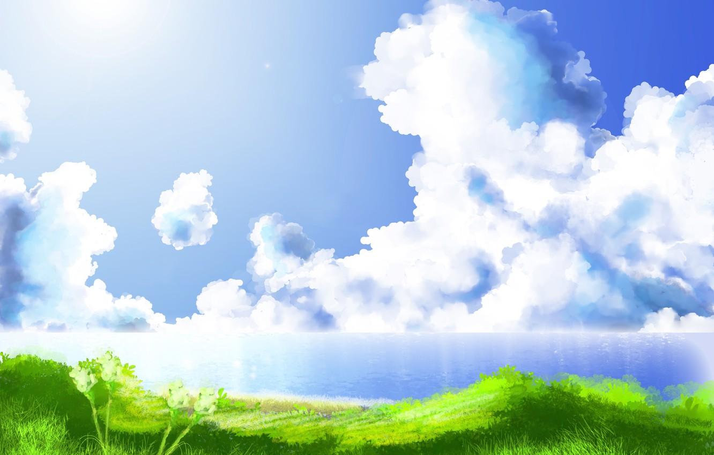 Photo wallpaper sea, grass, the sun, clouds, landscape, shore, figure