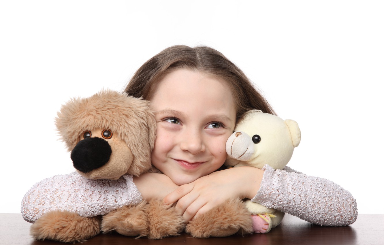 Photo wallpaper joy, happiness, children, smile, toys, child, doll, Bear, cute, smile, toys, child, teddy bear, puppet, …