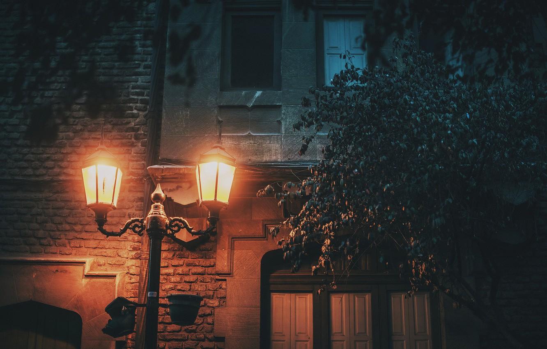 Photo wallpaper light, house, street, cityscape, lamp post, urban scene