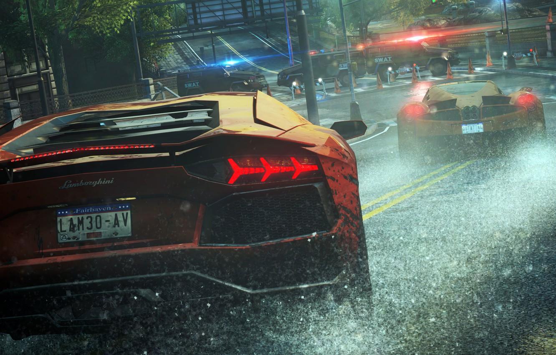 Wallpaper Rain Race Police Lamborghini Cars Need For Speed