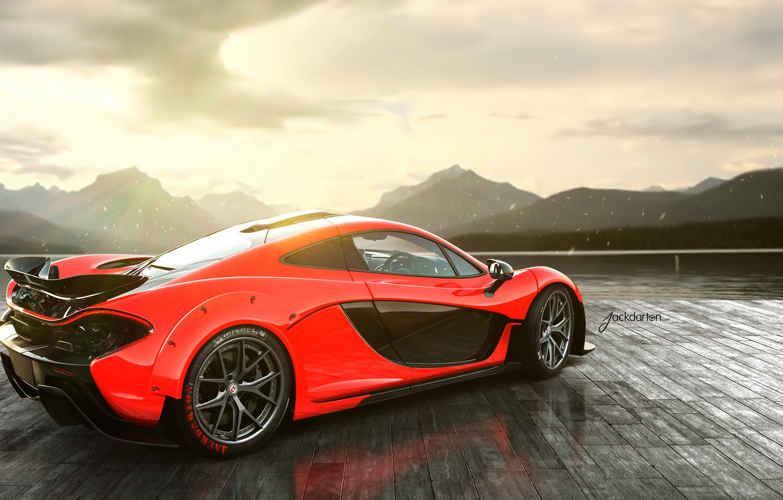 Photo wallpaper McLaren, red, rear