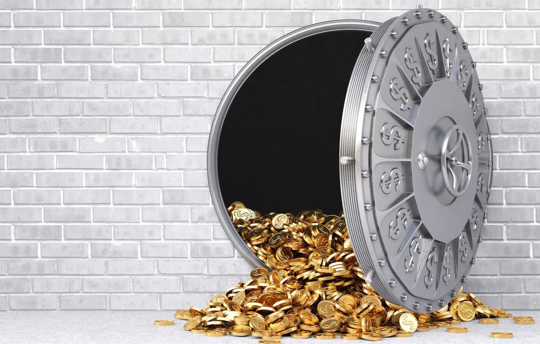 Photo wallpaper wall, gold, money, gray, reinforced door, wealth