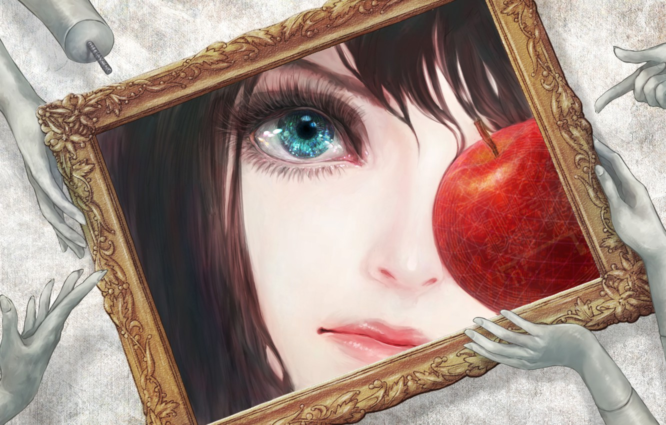 Photo wallpaper eyes, frame, Apple, picture, hands