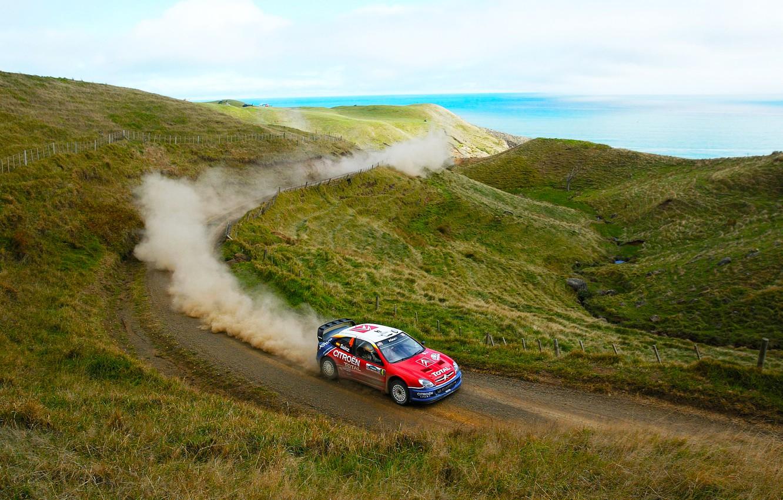 Photo wallpaper Sea, Auto, Dust, Sport, Machine, Speed, Day, Hill, Citroen, WRC, Rally, Rally, Xsara
