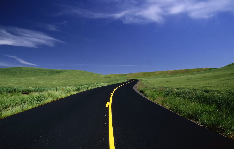 Photo wallpaper road, grass, markup, field, 154