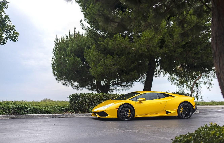 Photo wallpaper Lamborghini, Yellow, Huracan