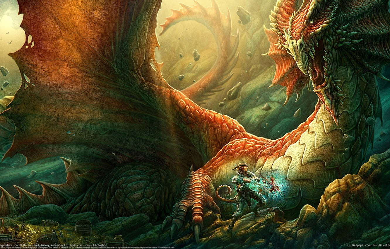 Photo wallpaper rocks, dragon, sword, warrior, Kerem Couplets, cave, treasures, dragonfighter