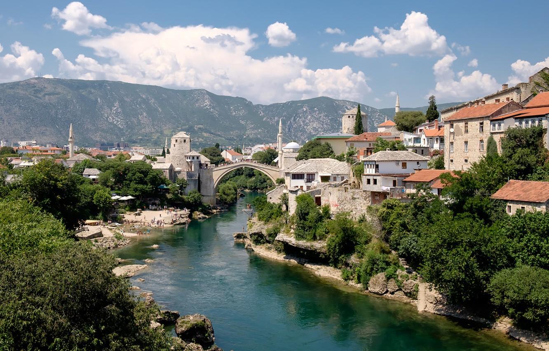 Photo wallpaper beach, mountains, sunny, Mostar, Neretva River, Old Bridge, Ottomans, Velež Mountain, Stari Most, Bosnia-Herzegovina