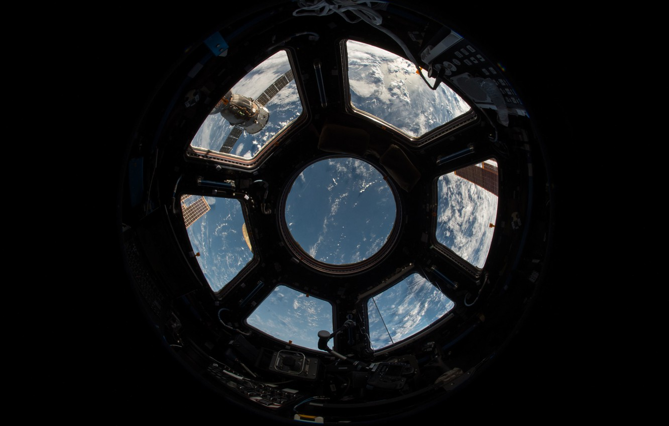 Photo wallpaper earth, Nasa, sky, ISS, view, clouds, window, atmosphere