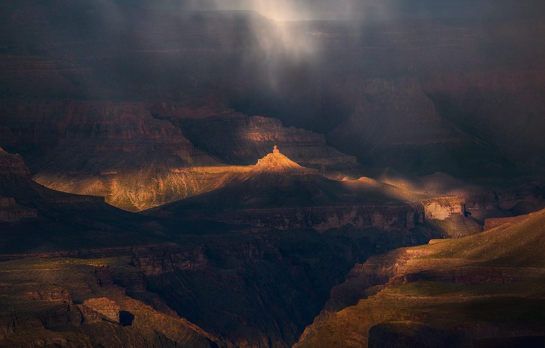 Photo wallpaper light, fog, The Grand canyon