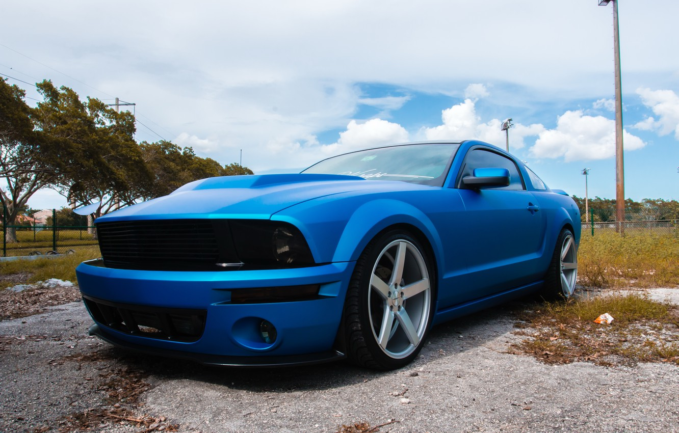 Photo wallpaper Mustang, Ford, wheels, with, Vossen, CV3s