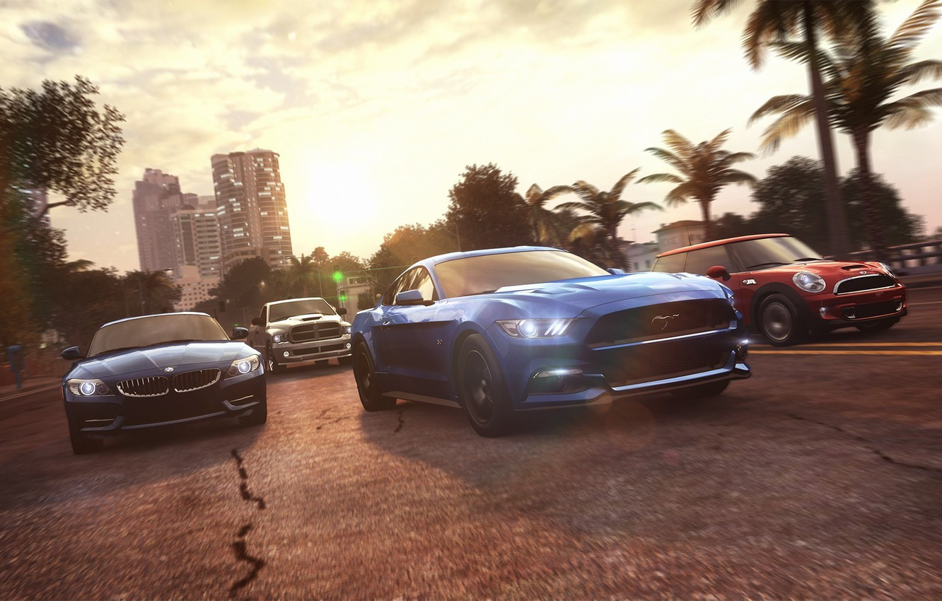 Photo wallpaper palm trees, race, Mustang, Ford, Mini, Cooper, BMW, Ubisoft, Game, The Crew
