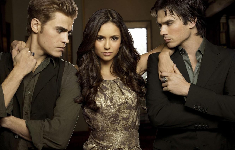 Photo wallpaper the vampire diaries, Stefan, Elena, Damon