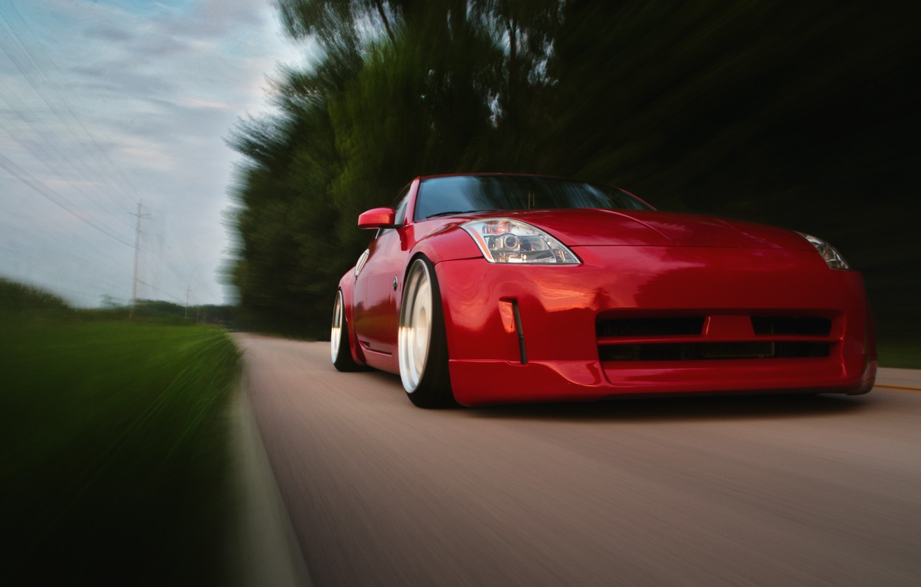 Photo wallpaper red, before, red, Nissan, Nissan, 350Z, stance, in motion