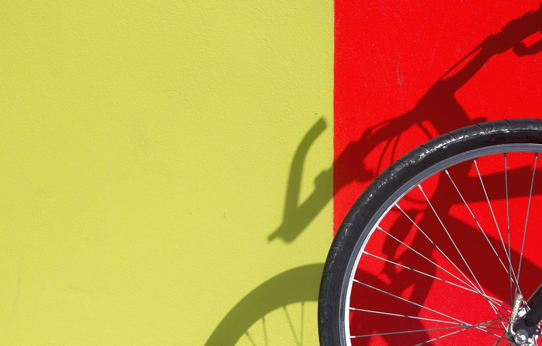 Photo wallpaper red, bike, yellow, wall, shadow, wheel