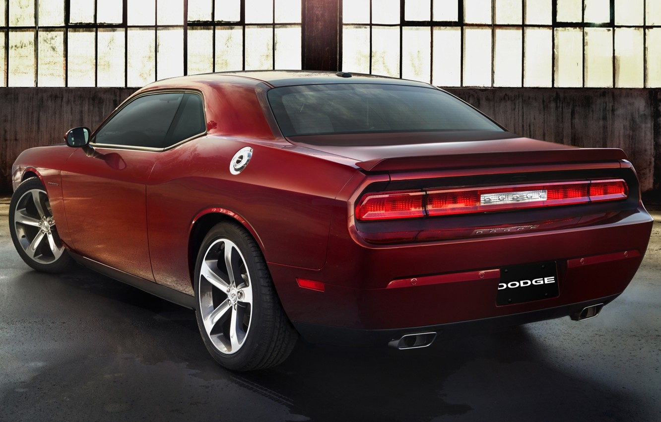 Photo wallpaper background, Dodge, Challenger, rear view, Muscle car, Muscle car, R T, 100th Anniversary