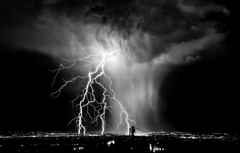 Photo wallpaper clouds, white, lightning, black