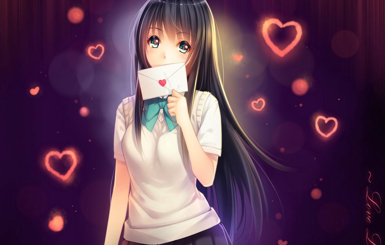 Photo wallpaper letter, girl, anime, art, hearts, schoolgirl, tidsean, forms