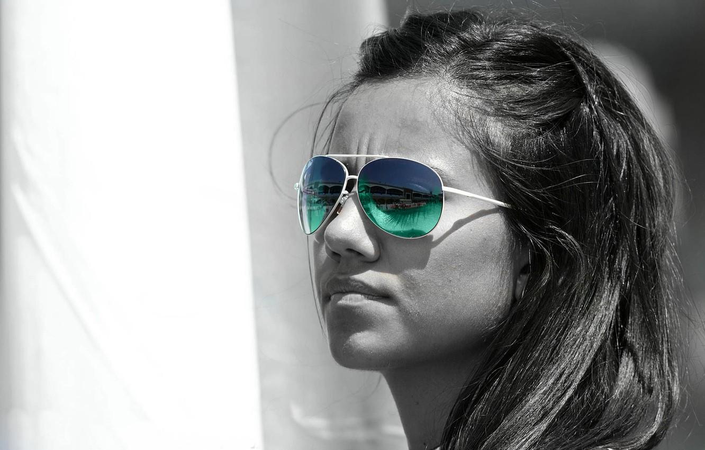 Photo wallpaper white, colorful sunglasses, Black