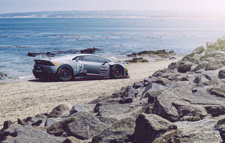 Photo wallpaper Lamborghini, Car, Race, Beach, Sun, Super, Rear, Huracan, Trophy, Ligth, LP620-2