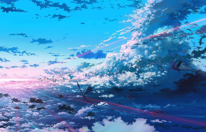 Photo wallpaper clouds, light, bright, dragons, flight, The Flight of Dragons