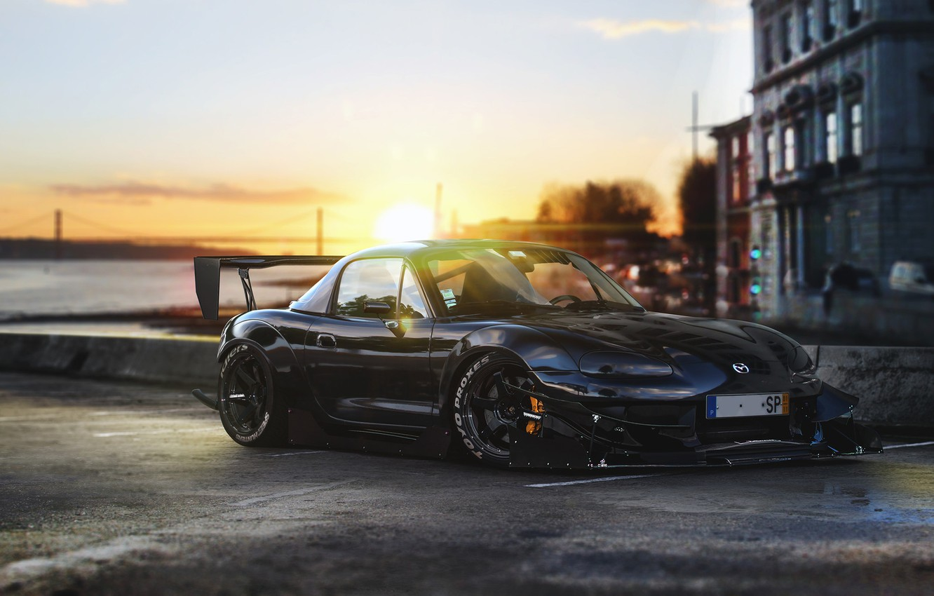 Photo wallpaper Mazda, Front, Black, Time, Tuning, MX-5, Attack