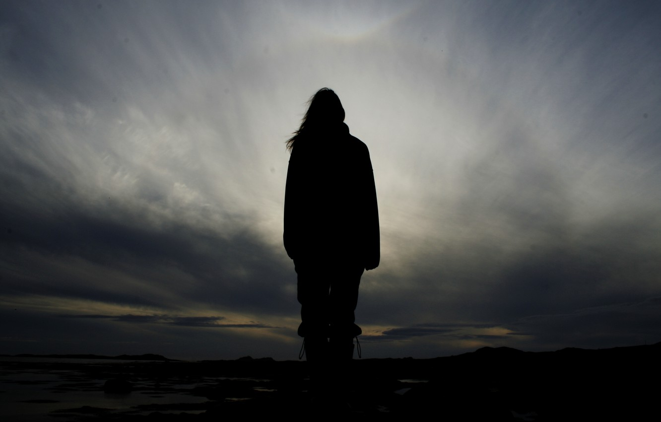 Photo wallpaper freedom, loneliness, one, people, silhouette