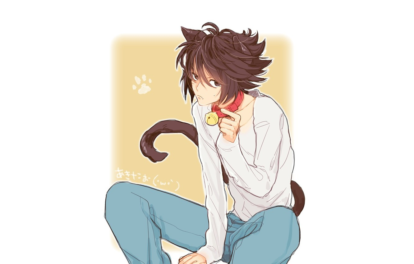 Photo wallpaper cat, anime, art, guy, bell, Death Note, death note, L, L