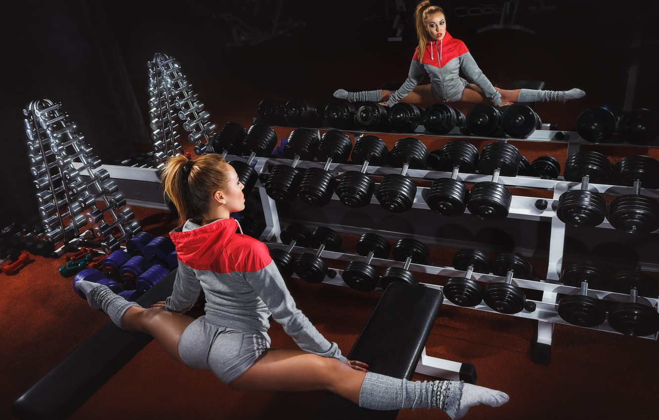 Photo wallpaper woman, pose, mirror, fitness, gym, dumbbells, physical activity, elongation