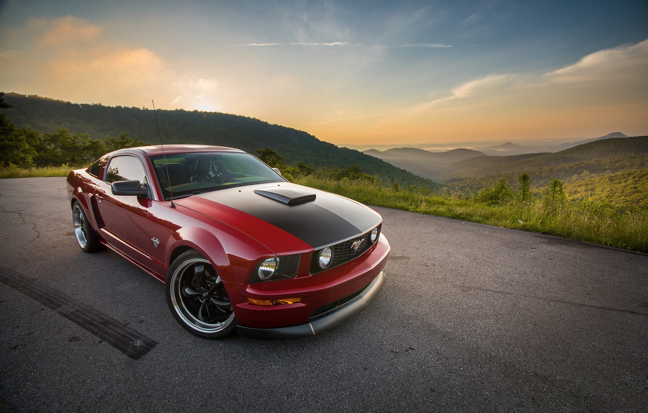 Photo wallpaper Mustang, Ford, 2009, 2005, Hills, GT, Distance