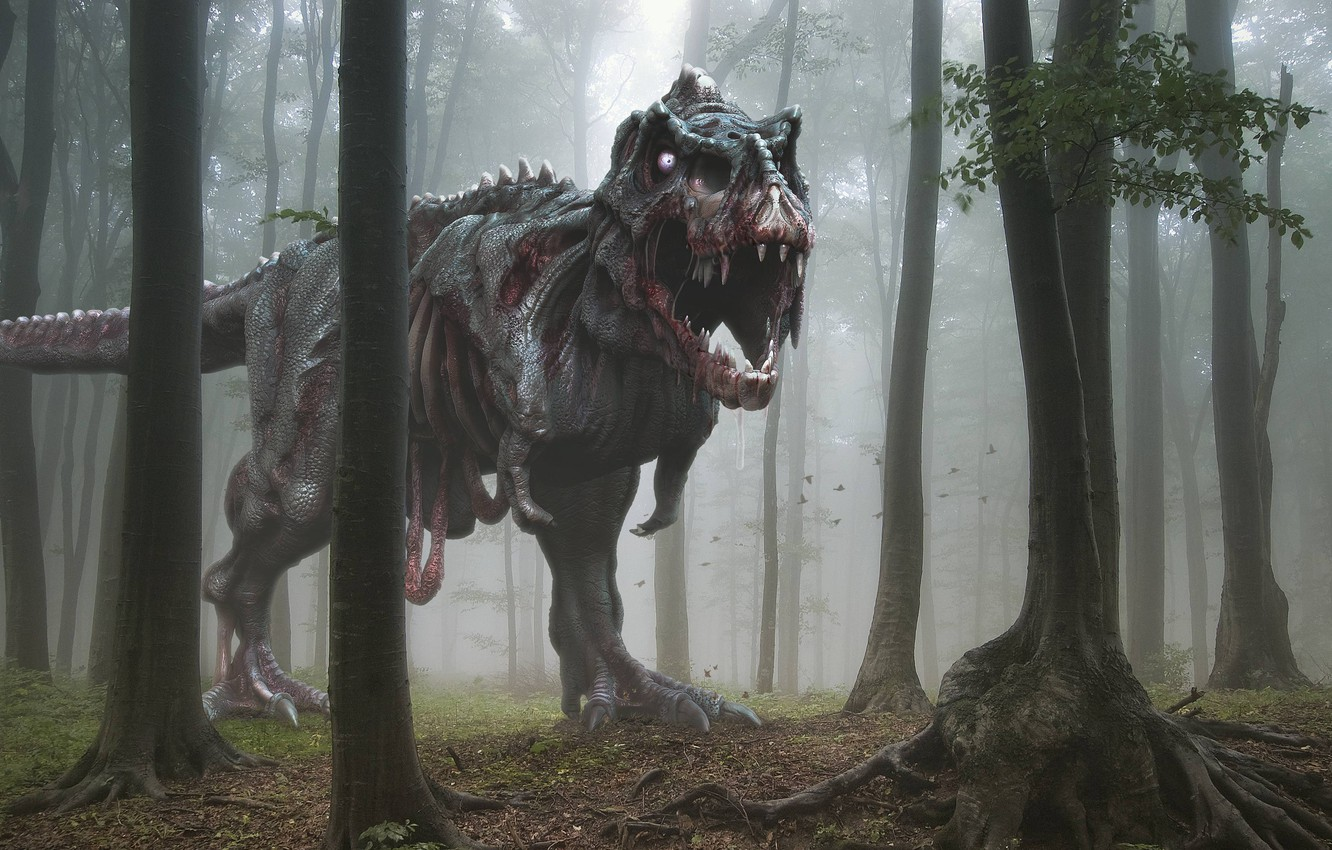 Photo wallpaper forest, trees, fear, mouth, zombies, Dinosaur