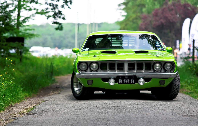 Photo wallpaper green, 1971, green, muscle car, front view, muscle car, Barracuda, Plymouth, Barracuda, Plymouth