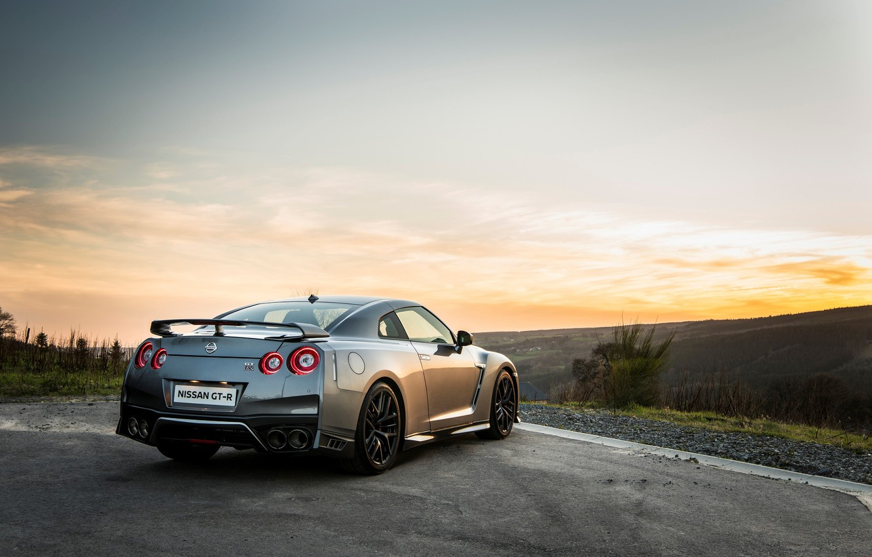 Photo wallpaper car, wallpaper, silver, Nissan, GT-R, car, rear view, Nissan, handsome