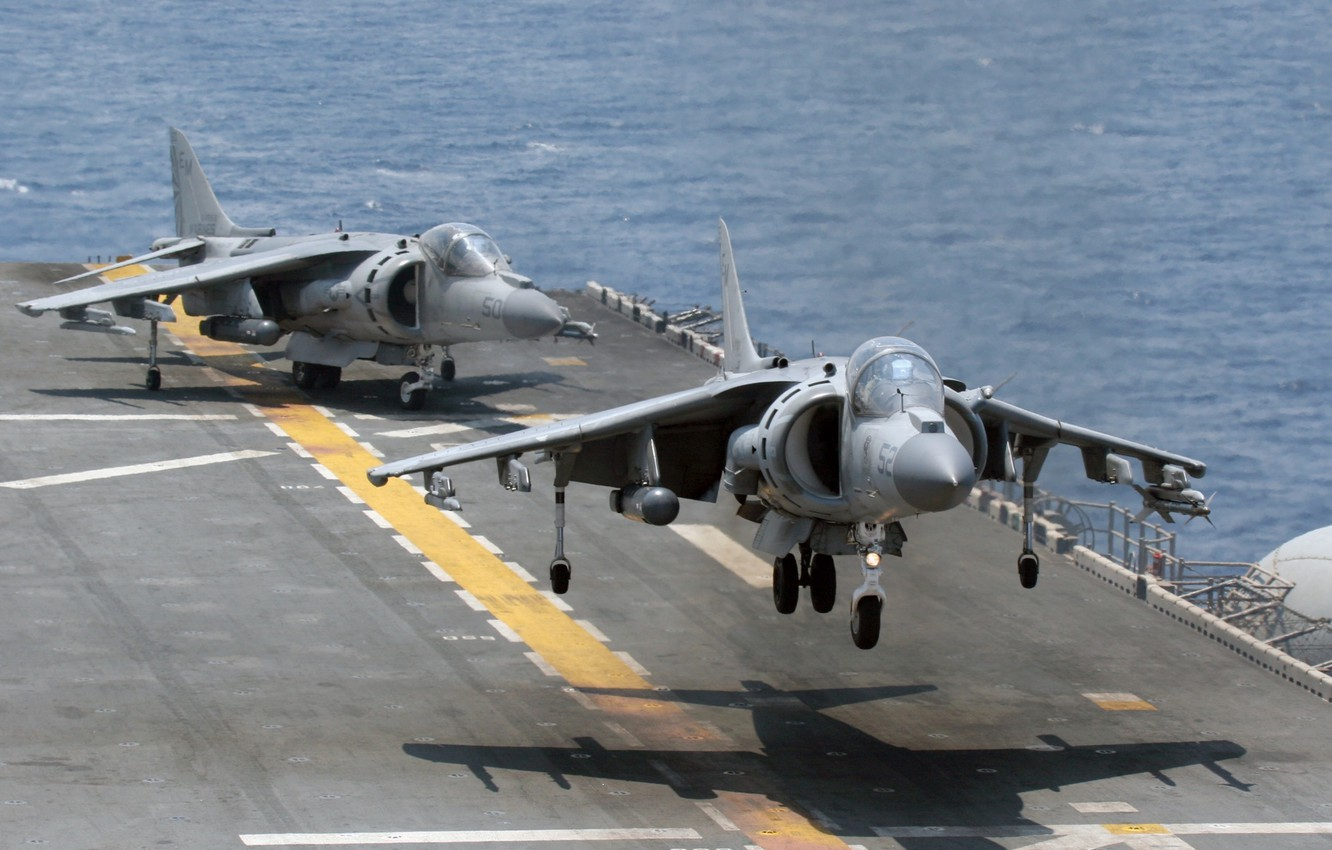 Photo wallpaper the carrier, deck, USA, the rise, harrier