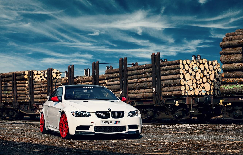 Photo wallpaper white, bmw, BMW, logs, railroad, white, composition, e92