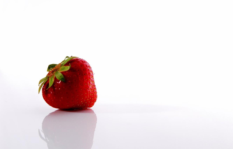 Photo wallpaper white, Strawberry, Red