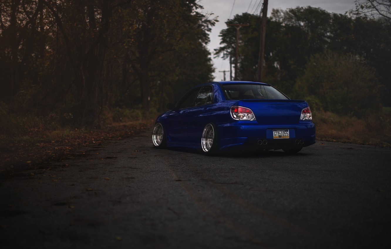 Photo wallpaper Subaru, blue, blue, wrx, impreza, Subaru, sti, Impreza, stance