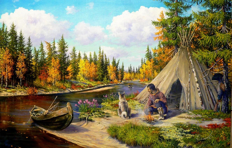 Photo wallpaper nature, river, boat, dog, art, taiga, hunter, Andrey Lyakh