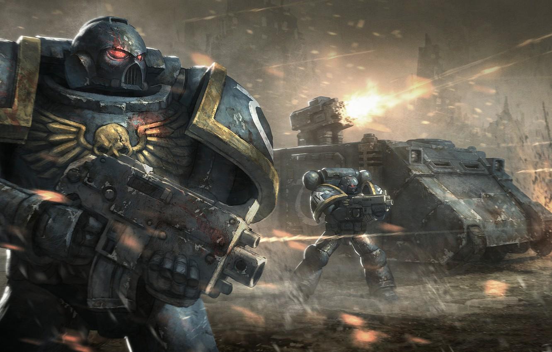 Photo wallpaper tank, warhammer, war, space marine, assault, warhammer 40,000